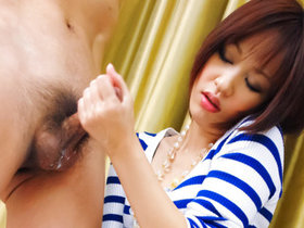 Nene Mashiro in the bathroom with a submissive guy sucking his dick and fucking his rod.